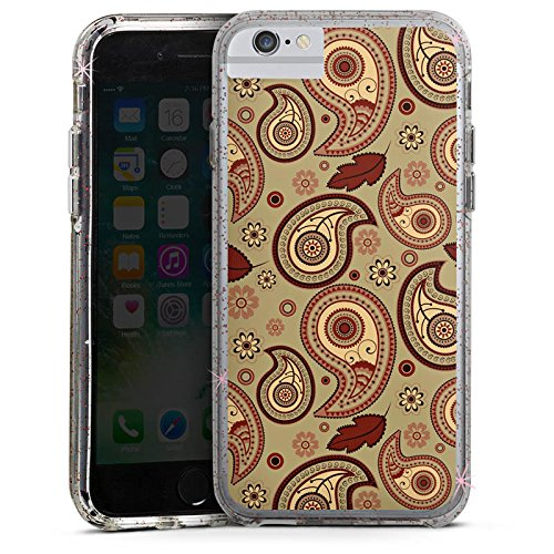 Apple iPhone 6 Plus Bumper Hülle Bumper Case Glitzer Hülle Herbst Autumn Pattern Bumper Case Glitzer rose gold