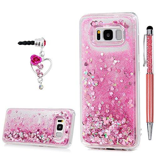 """S8 Plus Case YOKIRIN Silikonhülle für Samsung Galaxy S8 Plus 6.2"""" Schutzhülle Premium Treibsand TPU Silikon Case Bling Kleine Liebe Hardcase Handyschale Handyhülle Rückseite Protective Cover Tasche Rosa"""