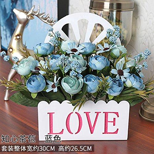 Meili flowersimulazione interni fiore finto pacchetto di fiori di seta swing di fiore in fiore in plastica decorazioni parete cesto fiorito set regalo in salotto, blue g