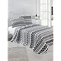 EnLora Home Artec Single Quilted Bedspread Set, Black/White, 160 x 220 cm, 162ELR9117