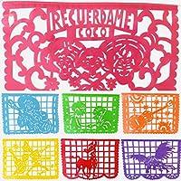 Coco Inspired Papel Picado Banderines - Rainbow horizontal grande (16 pies) guirnalda de plástico