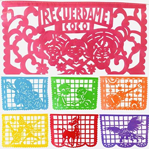 Coco inspiriertes Papel Picado-Spruchband – Regenbogenfarben, horizontal, groß, 4,3 m