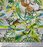 Soimoi Grau Baumwoll-Voile Stoff Äste, Papageien & Leopard