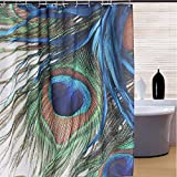 RISHIL WORLD 150x180cm Waterproof Peacock Feather Polyester Shower Curtain Bathroom Decor with 12 Hooks Single Item.