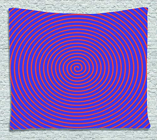 ABAKUHAUS Psychedelisch Wandteppich, Hypnotische Spirale, Wohnzimmer Schlafzimmer Heim Seidiges Satin Wandteppich, 150 x 100 cm, Orange Violett - Hypnotische Violett