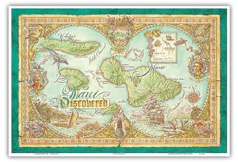 Maui Entdeckt - Karte Der Hawaii-Inseln Maui, Lana'i, Moloka'i - Vintage Retro Hawaii Farbige Kartographie Karte von Dave Stevenson - hawaiianischer Kunstdruck - 33cm x (Insel Molokai Hawaii)