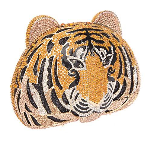 Bonjanvye Glitter Studded Tiger Head Purse for Women Shining Rhinestone Clutch Evening Bag Silver gold