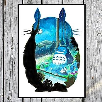 "Aquarell Totoro Poster My Neighbour Totoro""Mondschein"" handgemalt – Bild Kunstdruck Print – Studio Ghibli"
