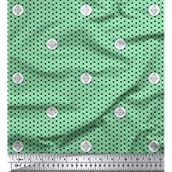 Soimoi Verde rayo de crepé Tela geométrica y lunares puntos tela artesanal impresa por metro 46 Pulgadas de ancho