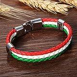 cupimatch Herren Frauen Italien Flagge italienische Banner Manschette Armreif Armband Leder geflochten, rot weiß grün, 21,1cm - 3
