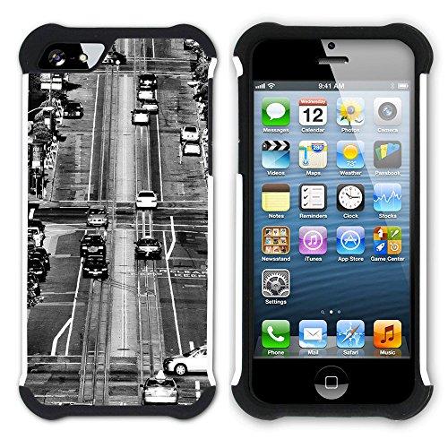Graphic4You California Street Postkarte Ansichtskarte Design Hart + Weiche Kratzfeste Hülle Case Schale Tasche Schutzhülle für Apple iPhone SE / 5 / 5S Design #2