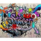 decomonkey | Papier peint intissé Graffiti 350x256 cm Trompe l oeil | Déco Mural Tableaux Muraux Photo Street Art Brique Mur de Pierre