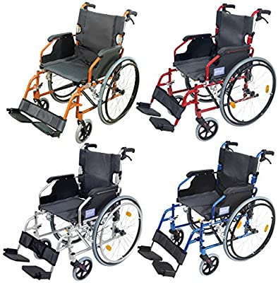 Aidapt Self Propelled Aluminium Deluxe Wheelchair, Lightweight,Cushioned,Funky Colours,Lap Strap, Foldable