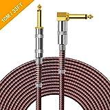 OTraki Cavo Chitarra 10M con Standard 1/4 Pollici Cavi per Strumenti 6.35mm TS Mono Cavo Jack per Chitarra Elettrica, Basso Elettrico, Tastiera, Amplificatore, Trasmissione di Audio