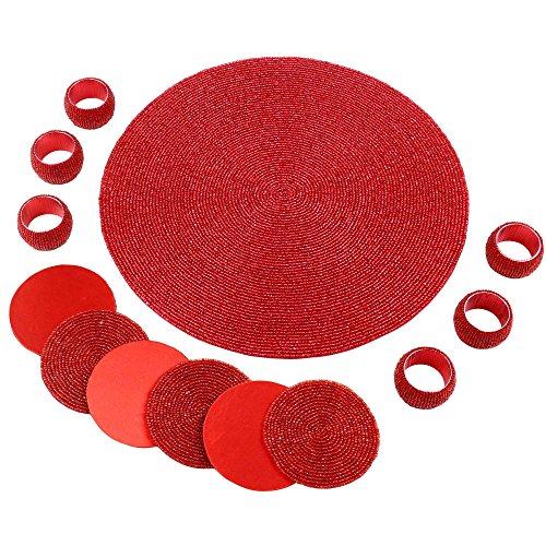 Articoli da regalo indiano decorazione di Natale rosso Set di 6 anelli di tovagliolo Teacoaster E 1 Tablemat in