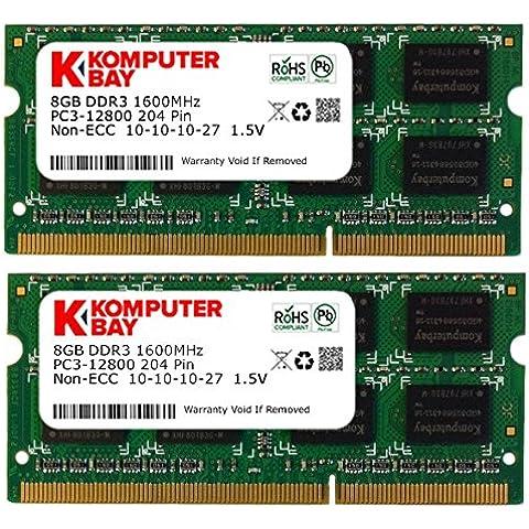 Komputerbay - Memoria para portátil, 16GB (2 x 8GB), DDR3, PC3-12800, 1600MHz, SODIMM, 204-Pin, 10-10-10-27 1.5V