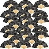 Tatuo 24 Piezas de Abanicos Plegables de Mano de Bambú Seda Negros para Boda, Fiesta, Iglesia, Niños, Bricolaje, Decoración (Negro)