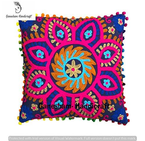 Suzani Designer Home Decor Kissen Fall Indische Handarbeit Kissenbezug Dekorative Sofa Bohemian Überwurf Kissenbezug - Florale Stickerei Kissen