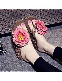 Hausschuhe HAIZHEN Frauenschuhe 4.5cm Sommer dicke Pantoffeln Handgemachte Perlen Strand Einfache Anti-Rutsch-Pantoffeln...