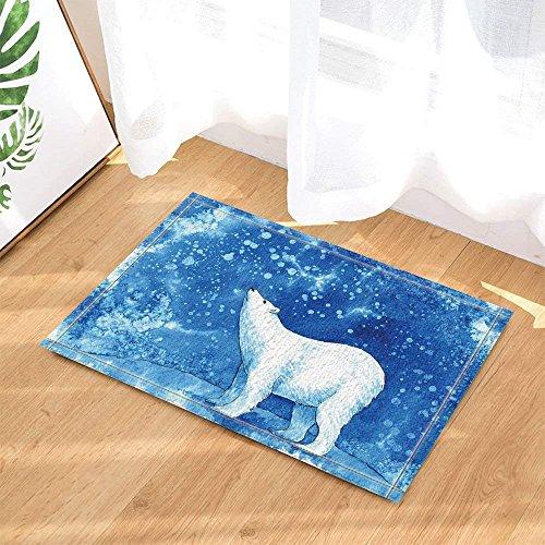 (cdhbh Winter Sea Tiere Decor Watercolor Polar Bär mit Schneeflocken in blau für Kinder Bad Teppiche rutschhemmend Fußmatte Boden Eingänge Innen vorne Fußmatte Kinder Badteppich 39,9x 59,9cm)