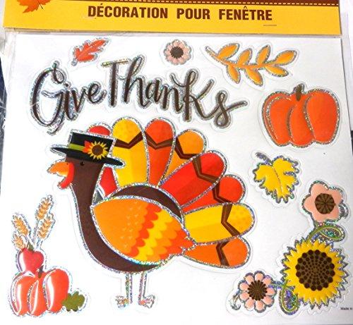 Greenbrier Metallic Kanten Aufkleber Wiederverwendbar Fall Fenster Decals für Thanksgiving/Herbst Dekoration Decor Turkey 9 Window Stickers (Thanksgiving Klassenzimmer Tür)