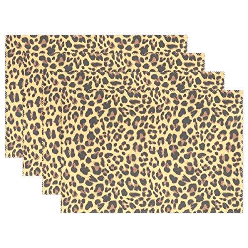 n Print Platzsets, coosun hitzebeständig Platzsets schmutzabweisend Anti-Rutsch waschbar Polyester Tisch Matten, rutschhemmend, einfach zu reinigen Platzsets, 30,5x 45,7cm Set von 4, Polyester, mehrfarbig, 4er-Set (Leopard Print Tischläufer)