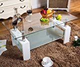 UEnjoy Glass Coffee Table White Rectangular White In Oak