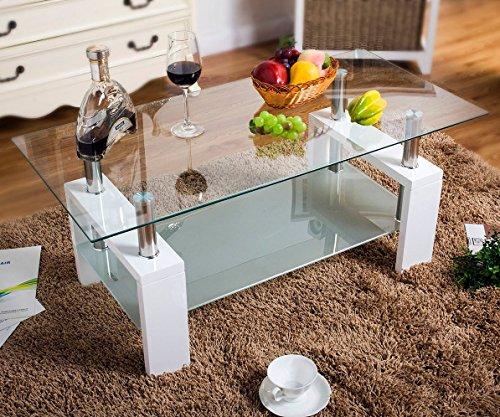 UEnjoy Glass Coffee Table White Rectangular White In Oak