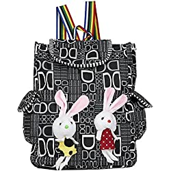 WhiteAsh Women's Printed Backpacks College Bag for Girl's (Black)