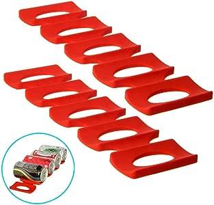 Support à Bouteille Canettes Peut en Silicone Rouge Frais de Stockage frigo Organization (2 Pack)