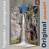 ORIGINAL plateART Eck-Duschrückwand, Rückwand Dusche Alu OHNE FUGEN, Fliesenspiegel, Fliesenersatz, Wasserfall-Motiv Felswand