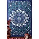tapestry-wall-hanging psicodélico hippie bohemio Star Mandala tapestry-blue