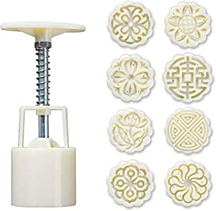 50g Mooncake-Form 4x Hibiskus-Kirschstempel Handpresse Mond Kuchen Dekor Form