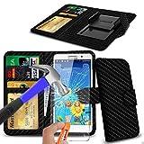 N4U Online® - Carbon Fibre Clip On PU Leather Wallet Case