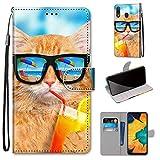 Miagon Flip PU Leder Schutzhülle für Samsung Galaxy A40,Bunt Muster Hülle Brieftasche Case Cover Ständer mit Kartenfächer Trageschlaufe,Limonade Katze