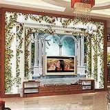 XUNZHAOYH Carta Parati 3D,Personalizzata Carta da Parati Foto 3D Stereo Murale in Stile Europeo Colonna Romana Giardino di Rose Sfondo TV Papel De Parede Wallpaper,280(W) X180Cm(H)(9.2X5.11) Ft