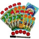 Nom Nom Kids ANIMAL Gourdes Réutilisables pour compotes et purées 140ml - 10 pack + 5 bouchons supplémentaires + 1 stylo, Sans BPA, Compatibles Congélateur et Lave Vaisselle