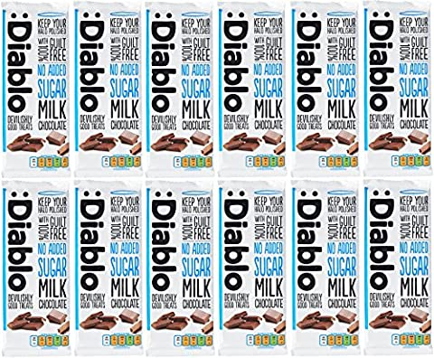 x12 Diablo Sugar Free Milk Chocolate With 100% Guilt Free 85g