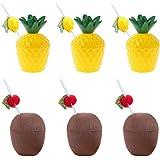 Hawaiian Luau koppar set, 6 st kokos och ananas drinkkoppar med 6 st frukthalm, Hawaiian läcka förebyggande drinkkoppar och b
