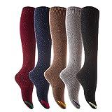 Lian Lifestyle - Lot de 5paires de chaussettes hautes pour femme - Longueur genou - Chaussettes en coton - Taille 40 à 44 -  - Medium