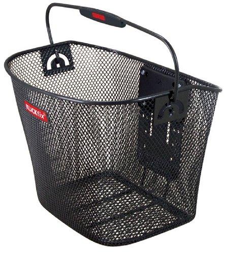 KlickFix Fahrradkorb engmaschig schwarz vorne mit Tragebügel