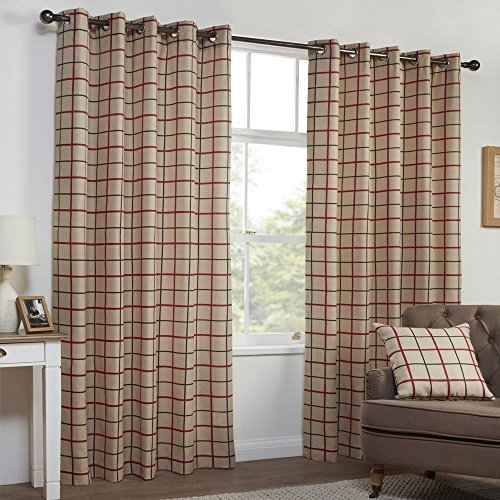 "Highland Check Textured Eyelet Ring Top Fully Lined Curtains – Natural & Red (46"" Wide x 90"" Drop)"