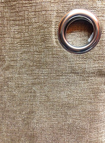 Yale Heavyweight Chenille Eyelet/Ring Top Lined Pair of Curtains, Polyester, Mink Brown, 66 x 72-Inch