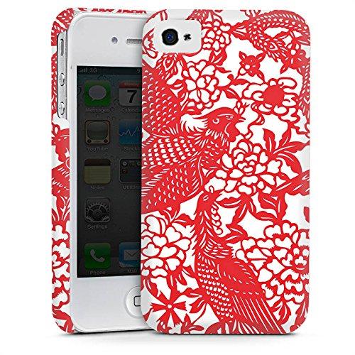 Apple iPhone 4 Housse Étui Silicone Coque Protection Oiseaux Ornements Fleurs Cas Premium mat