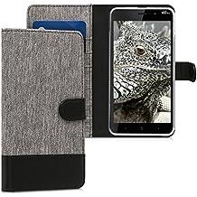 kwmobile Funda para Wiko Lenny 4 Plus - Wallet Case plegable de cuero sintético - Cover con tapa tarjetero y soporte en gris negro
