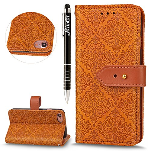 iPhone 7 Custodia,SainCat Custodia in Pelle per iPhone 7,Anti-Scratch Protettiva Caso Elegante Creativa Dipinto Pattern Design PU Leather Flip Ultra Slim Sottile Morbida Portafoglio Custodia Libro Pro nocciola
