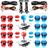 Hikig 2 Giocatori Arcade Joystick Controller Kit Fai da Te 2X USB Encoder + 2 Joystick + 20x LED Button per Raspberry Pi 3 Retro Games, PC MAME Giochi Arcade - Colore Rosso + Blu