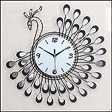 ZHUNSHI Horloges murales décoratives continental mur miroir en fer forgé de horloge murale horloge les horloges silencieux jardins Peacock et horloge salon luxe...
