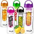 Babz Fruit Infusion Water Bottle with Fruit Infuser Aqua Hydration Sports Fusion Bottle - 7 Colours (Red)
