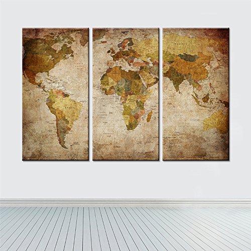 XDXART 3 Panels Home Decor Bilder Gedruckt auf Leinwand, Dekor Kunst - Retro Weltk Arte Wand Kunst Ölgemälde Gedruckt Bilder (Ohne Holzrahmen) (8x16inchx3pcs) Arte-dekor